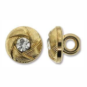Button Gold Rhinestone 10mm