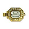 Gold Plated Hex Clasp with Crystal 22x12mm - 1 Strand
