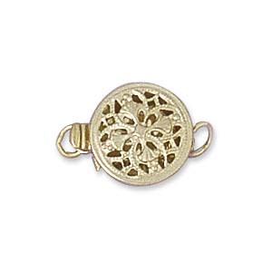 GF Clasp 1 Strand Box Round Filigree 9mm
