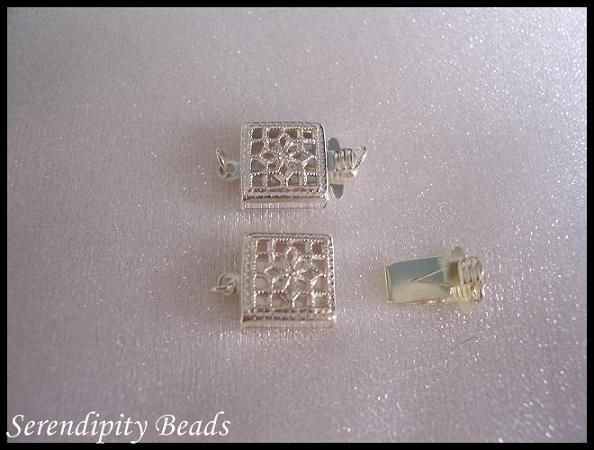Sterling Silver Clasp 1 Strand Square Filigree 11x8mm
