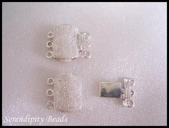 Sterling Silver Clasp 3 Strand Box Rectangle Stardust 16x13x4mm