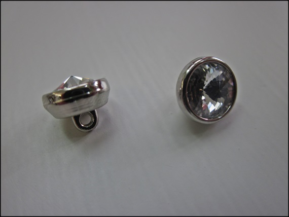 Button Swarovski Crystal/Acrylic Silver 10mm