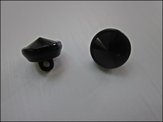 Button Swarovski Jet/Acrylic Black 10mm