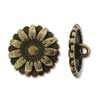 Button Flower 17mm - Antique Brass